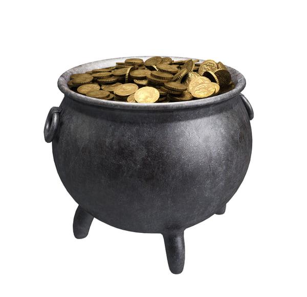 3d model pot gold coins