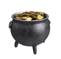 3d model pot gold coins