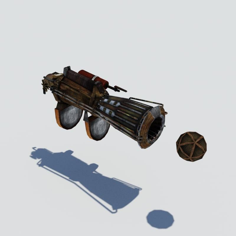3d steampunk hand gun