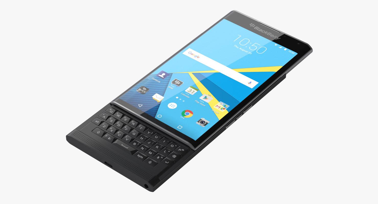 photoreal smartphone blackberry priv 3d model
