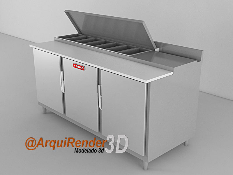 refrigerator pizza 3d model