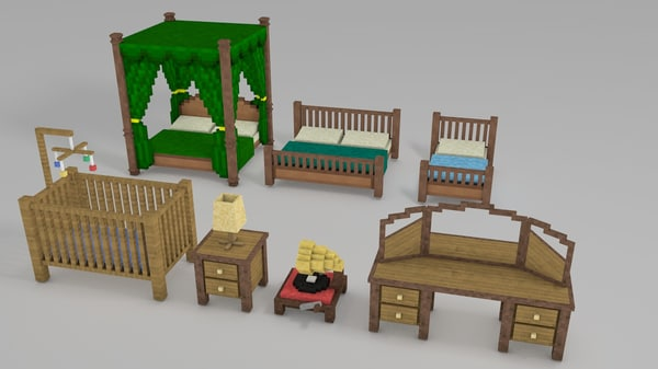 3d minecraft library models: bedroom