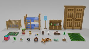 minecraft library models: childrens 3d c4d