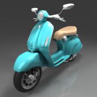 3d model modern vespa scooter