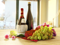 3d life wine grapes model
