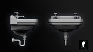 3d public restroom sink model