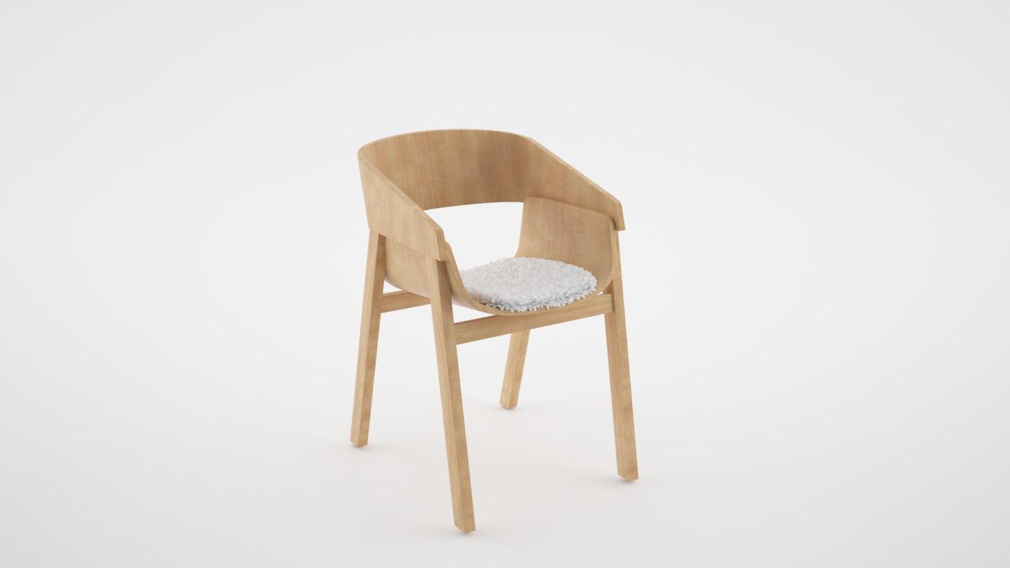 3d chair wood modern