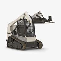 Compact Tracked Loader Bobcat With Brush Saw Rigged 3D Model