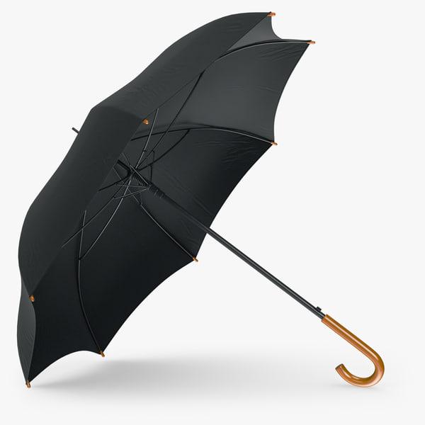 3d model umbrella classic open