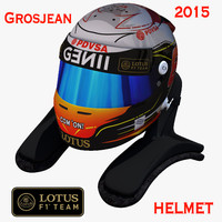 romain grosjean helmet 2015 3d model