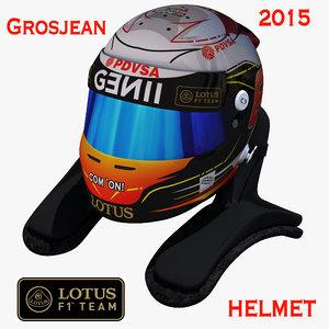 romain grosjean helmet 2015 3d model