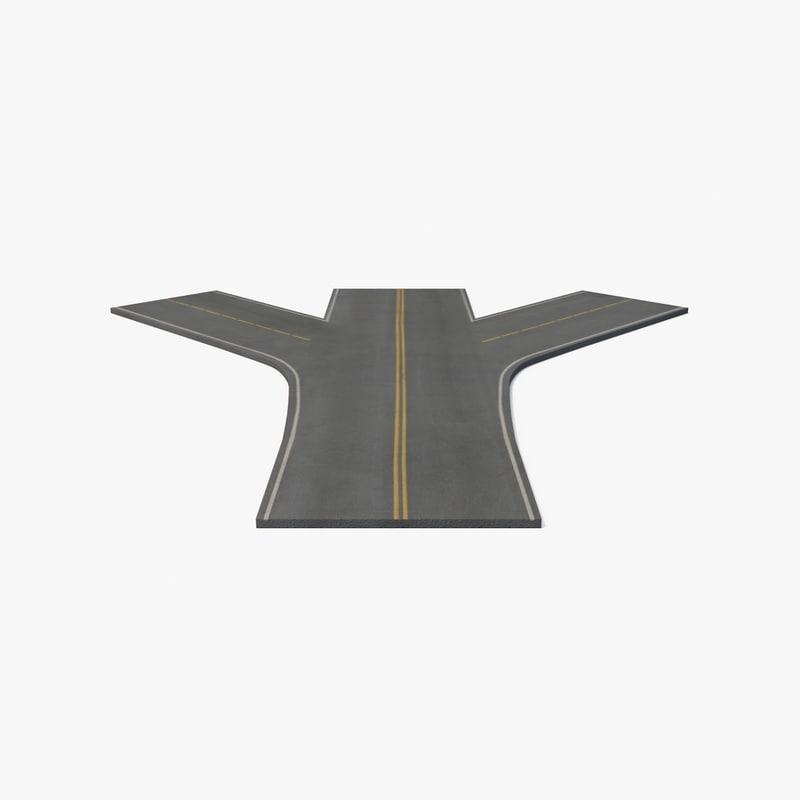 3d fork road model