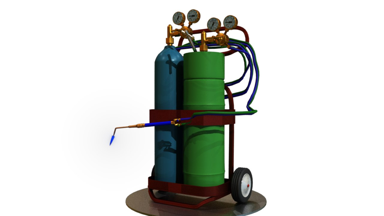 welding torch flame 3d model