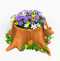 cartoon tree stump flowers 3d obj