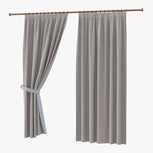 3d model curtain 2 gray
