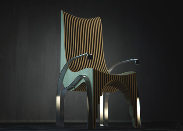 chair designed plywood 3d model