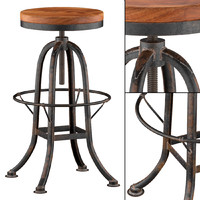 Oleg Industrial Loft Iron Base Reclaimed Wood Bar Counter Stool