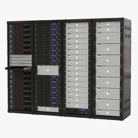 3d model generic server racks set
