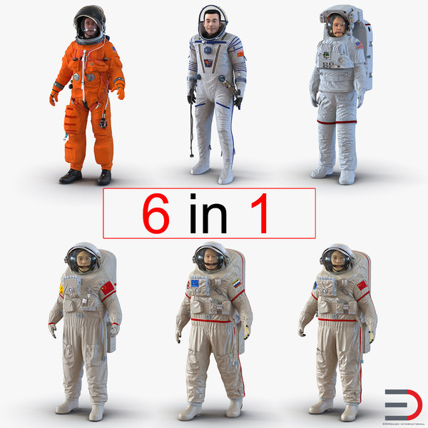 3d model rigged astronauts 2 modeled