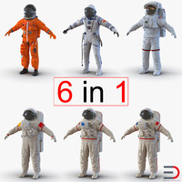 3d space suits 2 modeled