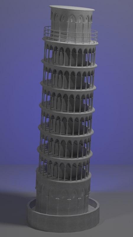 pisa tower 3d max