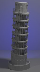 pisa tower 3d max