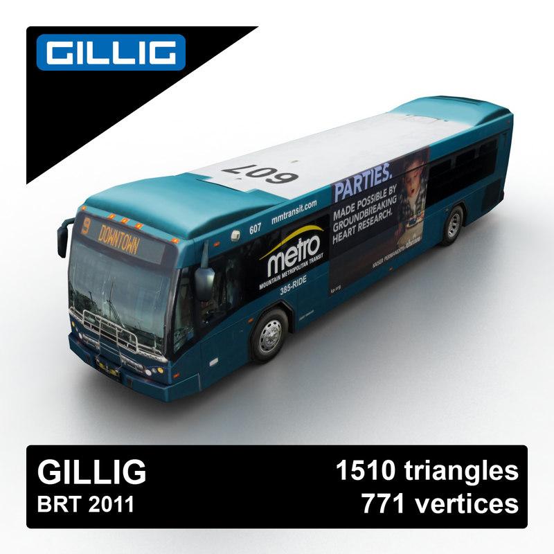 3d gillig brt 2011 bus model