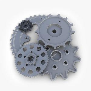 gears set 08 steampunk 3d model