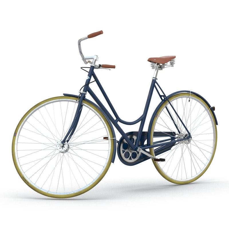 3d city bike blue rigged model