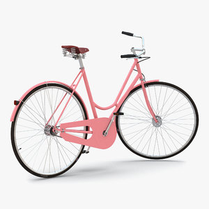 city bike pink rigged 3d max