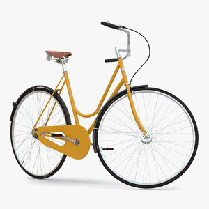 3d city bike yellow rigged