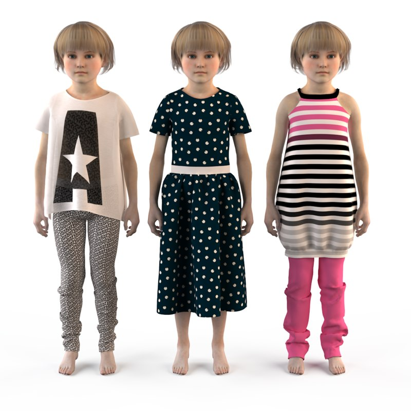 fashion clothing baby girls 3d max