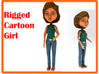 3d rigged cartoon girl model