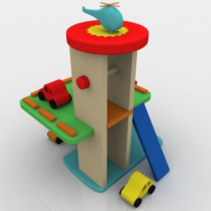 toy car garage 3d obj