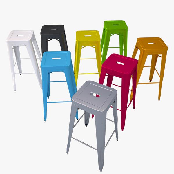 3d model of bar stool tolix