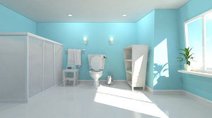 modern bathroom scene 3d obj