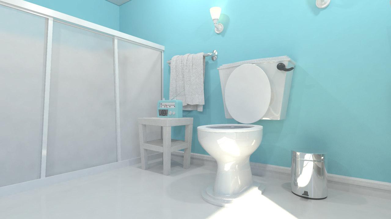 modern bathroom scene 3d obj