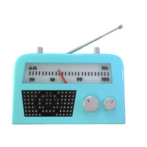 cute cartoon radio 3d obj