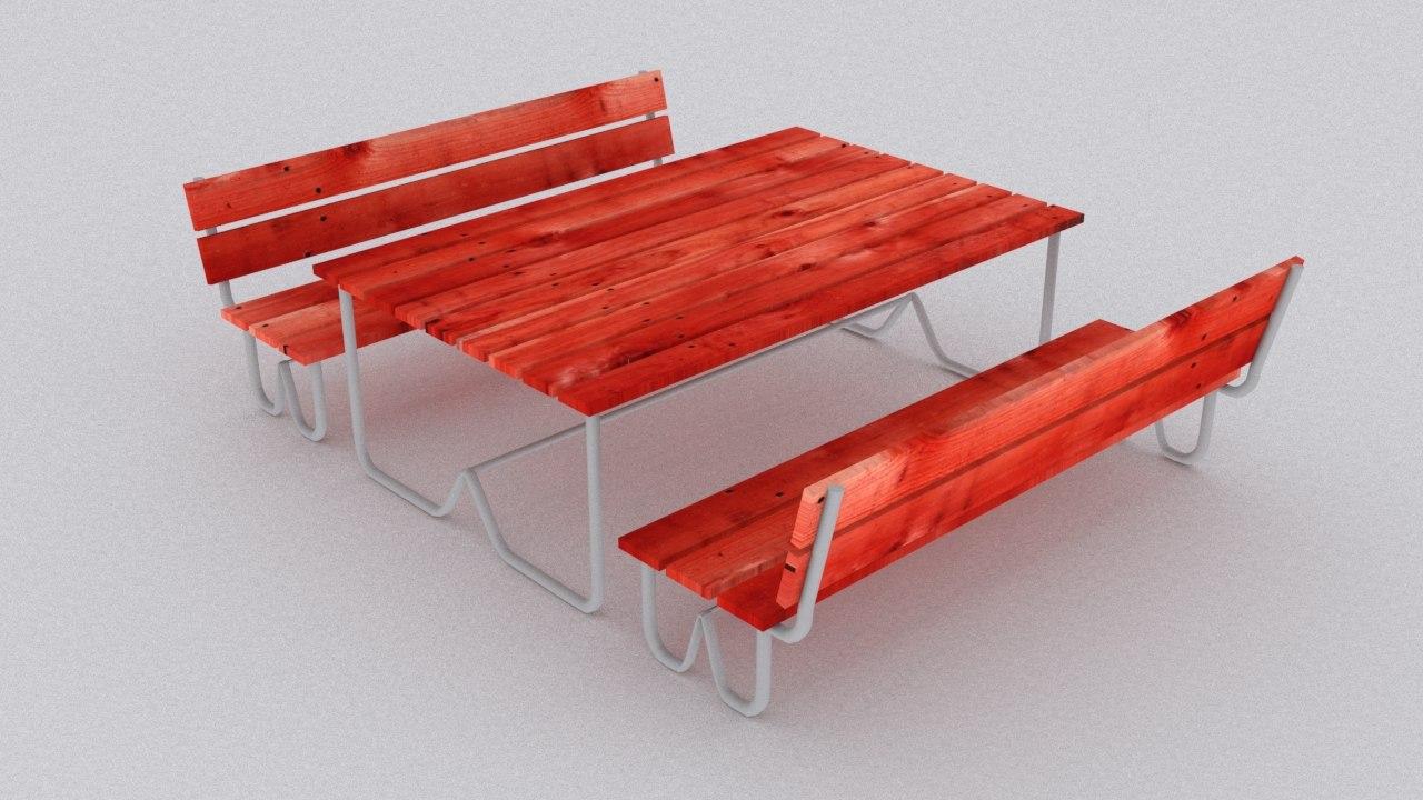 3d picnic wood table