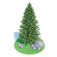 3d model spruce grass stones