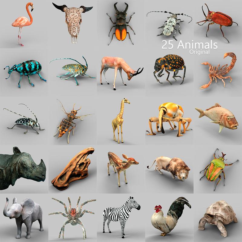 obj 25 animals -