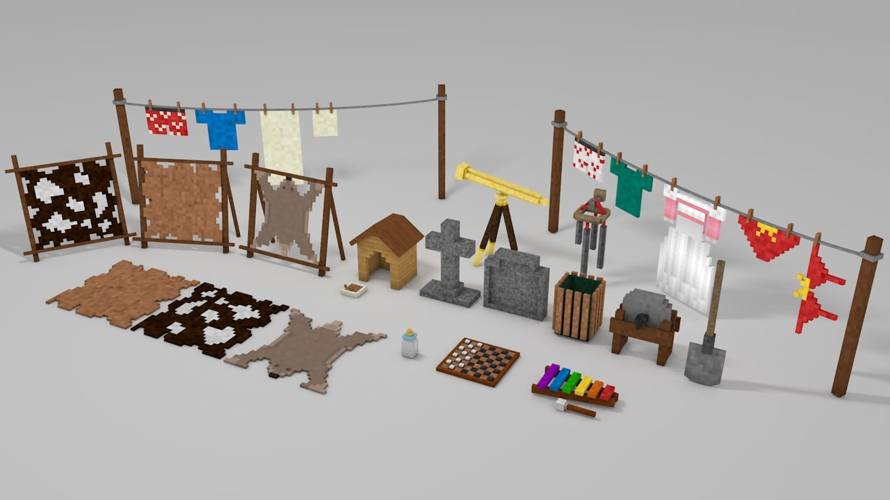 3d minecraft library models: decoration