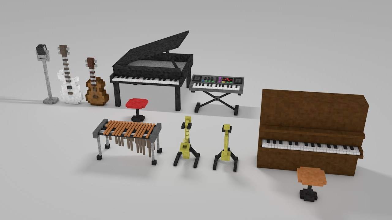 3d minecraft library models: musical instruments model