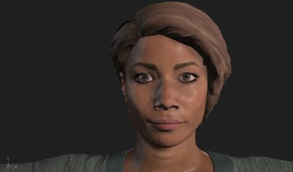 black female 3d obj