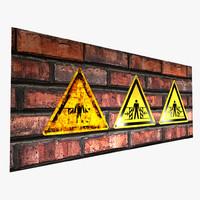 3d warning sign -