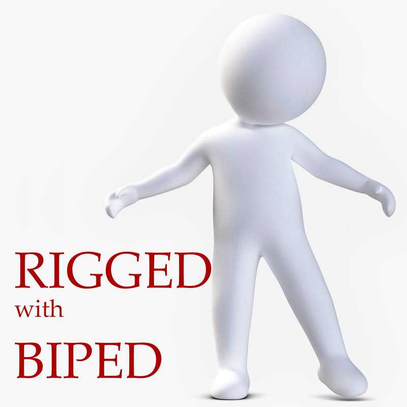 3ds max stickman character rigged biped