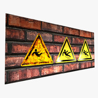 3d warning sign - model