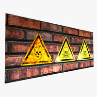 3d warning sign -