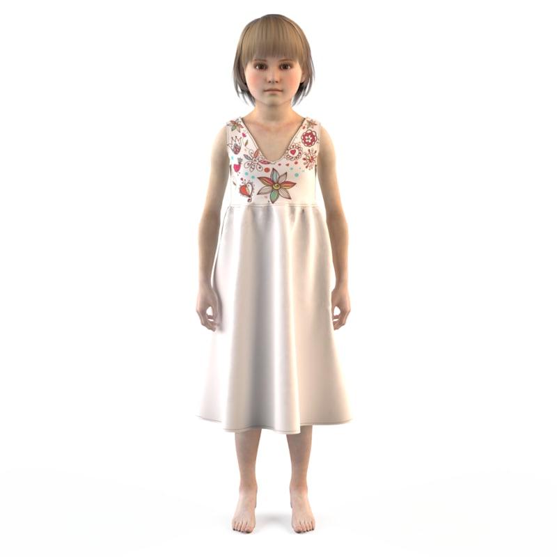 3d fashion child dressed model