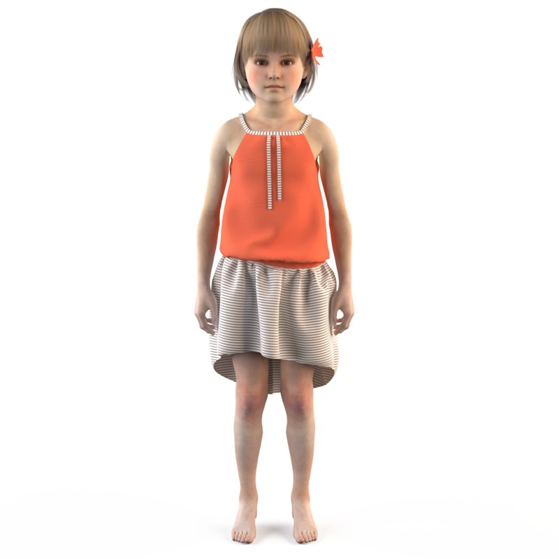 fashion child dressed 3d model
